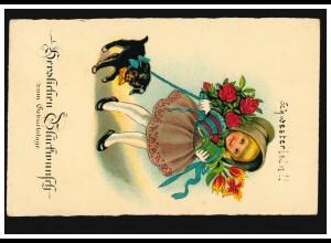 Tiere-AK Geburtstag: Blumen-Mädchen mit Hund, NEUSS 3.6.1942