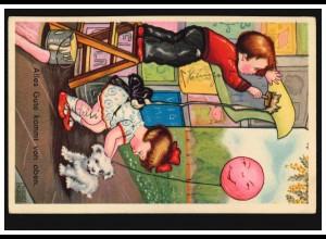 Tiere-AK Kinder mit Hund: Alles Gute kommt von oben, HAMBURG 7.5.1935