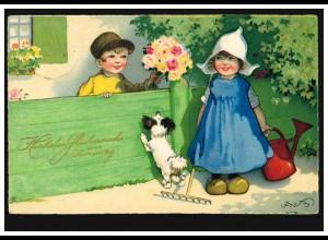 Tiere-AK Namenstage: Kinder im Garten mit Hund, Ortspostkarte Neuß 29.6.1931