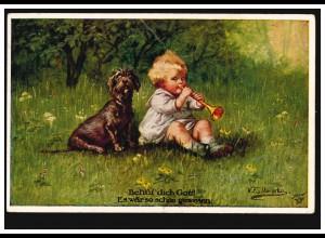 Künstler-AK Wally Fialkowska: Junge mit Flöte und Hund, SPROTTAU 23.1.1924