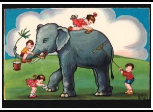 Künstler-AK Margret Boriss: Kinder waschen Elefanten, um 1930, ungebraucht