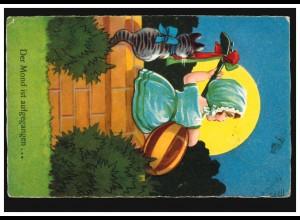 Tiere-AK Der Mond ist aufgegangen ... Mädchen mit Mandoline, Katze, Neuß 1929