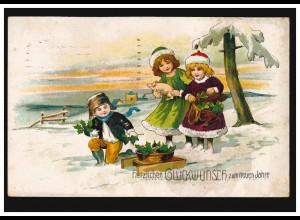 Tiere-AK Neujahr Kinder mit Glücksklee und Glücksschwein, HARBURG/ELBE 31.12.21