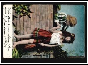 AK Mignon mit Madoline, LEIPZIG-CONNEWITZ 9.8.1904 nach OBERWIESENTHAL 9.8.04