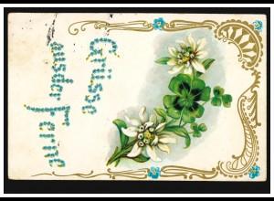 Prägekarte Grüße aus der Ferne: Glücksklee, nach KAUFBEUREN 26.7.1906