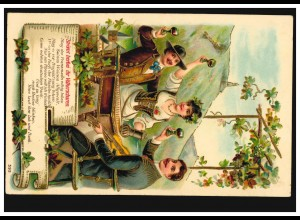 Prägekarte Weinverkostung am Rhein Weinreben Weingläser Laute, WEISSIG 1902
