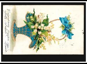 Prägekarte Blauer Blumenkorb mit Maiglöckchen, gelaufen 1904