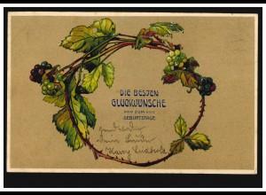 Prägekarte Geburtstag Weinreben als Girlande Weintrauben, ALTONA 3.9.1906