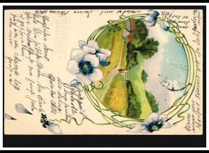 Prägekarte Dorfidylle mit Blumengirlande, HADERSLEBEN 11.2.1905 nach KIEL 12.2.