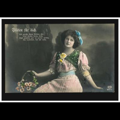 Mode-AK Frau mit Blumenkorb: Blüten für Dich! CHEMNITZ 9.1.1912 nach Belgien