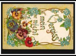 Prägekarte Vergissmeinnicht Freundschaft Blumen, Feldpost 19.6.1918