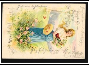Prägekarte Frau mit Blumen Schmetterlingen, MÜNNERSTADT 5.2.02 nach HAMMELBURG