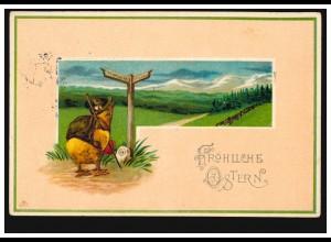 AK Ostern: Vermenschlichte Tiere - Küken an der Kreuzung, ARBERGEN 1913