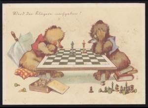Humor-AK Wird der Klügere nachgeben? Bären beim Schach, ungebraucht, um 1920