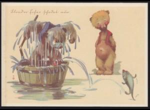 Humor-AK Blinder Eifer schadet nur: Hund Bär Fisch, ungebraucht, um 1920