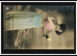 Mode-AK Frau mit roter Bluse, blauem Rock, weißen Rosen, M.GLADBACH 25.11.1913