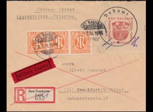 Bad Nauheim 8IIx Postverschlusszettel mit AM-POST-Marken MiF Eil-R-Brief 21.3.46