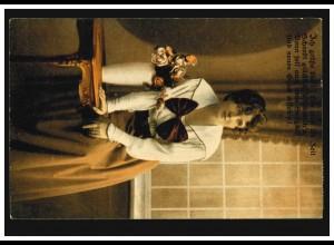 Mode-AK Frau mit weißer Bluse und großer Schleife, FRANKFURT/MAIN 8.3.1919