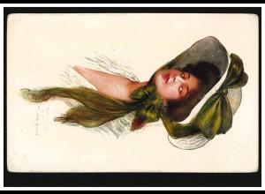 USA Künstler-AK Frau mit Hut und grüner langer Schleife, ungebraucht