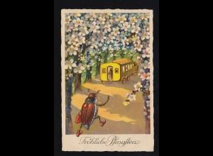 Tiere-AK Pfingsten Rennender Maikäfer zum Schulbus, HAMBURG 23.5.1931