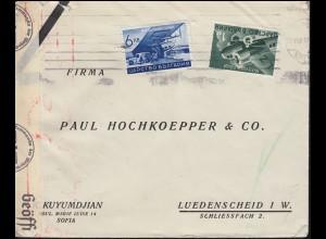 Deutsche Zensur auf Bulgarien Brief Flugzeug-Frankatur 377+380 SOFIA um 1940