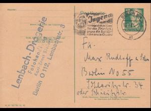 Postkarte P 40/01 Bebel DV M 301 500 000 XI. 50, BERLIN N 4 Jungdtreffen 12.7.51