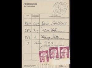 730 Heinemann UR-Paar + Marke Paketzustelliste Poststelle II SOMMERLOCH 22.11.75