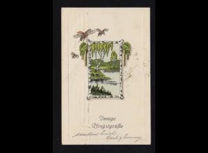 Tiere-AK Pfingsten Fliegende Maikäfer über Landschaftsbild, HAMBURG 7.6.1919