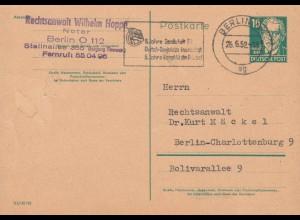 Postkarte P 41I a Bebel 10 Pf. DV III /18/185, BERLIN N 4 ag 26.6.52 Orts-PK