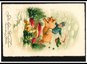 Neujahr-AK Junge auf Schwein mit Hufeisen Fliegenpilze, WÜNSCHENDORF 30.12.1926