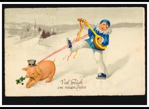 Neujahr-AK Glücksschwein Glücksklee mit Musikaten auf dem Eis SOLLINGEN 31.12.31
