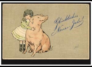Tier-AK Neujahr Mädchen mit Schwein, WIESBADEN 2.1.1906 nach LÖVENICH/CÖLN 3.1.