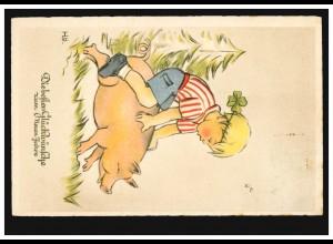 Tier-AK Neujahr Junge reitet auf Schwein Glücksklee im Haar, VIENENBURG 30.1.