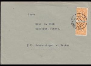 20 AM-Post 6 Pf. als MeF auf Brief HANNOVER 15.11.1945 nach Schwenningen/Neckar
