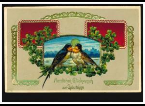 Tier-AK Schwalbenpaar mit Glücksklee-Girlande, NIEDER-SCHÖNEWEIDE 1909
