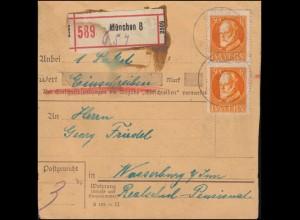 99A Ludwig 30 Pf Paar auf Paketkarte MÜNCHEN 8 - 24.10.1918 nach Wasserburg/Inn