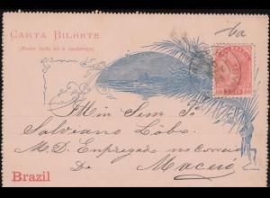 Brasilien Kartenbrief Blau 15.11.1893 Rot Casa de Moeda aus PALMEIRA 20.11.