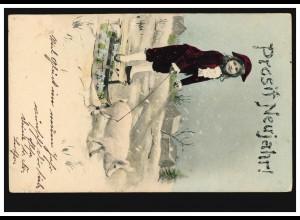Neujahr-AK Schlittengespann mit Schwein, PEGAU um 1904