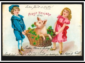 Neujahrs-AK Mit Glücksschwein und Glücksklee ins Neue Jahr, DRESDEN 31.12.1905