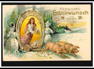 Neujahrs-AK Mit Schweinsgalopp ins Neue Jahr, VORDST (BZ. DÜSSELDORF) 1.1.1906