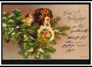 Tiere-AK Hund und Katze wünschen Prosit Neujahr, WILHELMSHAVEN 31.12.1904