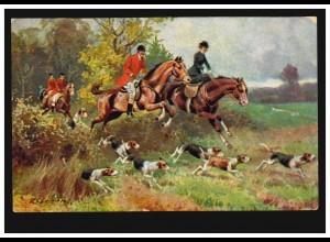 Tiere-AK Fuchsjagd mit Pferd und Hundemeute im Gelände, per Bahnpost um 1905