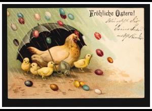 Künstler-AK Henne mit Küken - Es regnet Ostereier, Feldpost GRÖNINGEN 22.4.1916