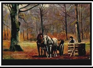 Künstler-AK Pferdegespann beim Holztransport, FRANKFURT/MAIN 27.10.1906