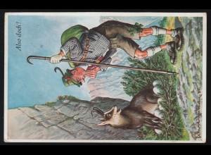 Humor-AK Tiere: Also doch? Gemse legt Eier, BAD REICHENHALL 12.4.1937