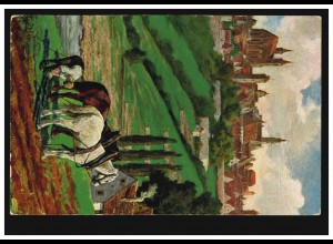 Künstler-AK Rothenburg ob der Tauber: Blick vom Felsenkeller mit Pferdegespann