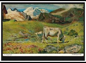 Künstler-AK Segantini: Frühlingsweide Kuh mit Kälbchen auf der Alm, ungebraucht