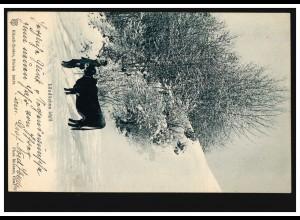 Foto-AK Ländliches Idyll: Bauer mit Kuh im Winter, HEIDEN 31.12.1904