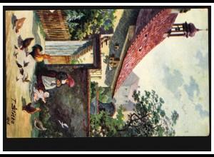 Künstler-AK T. Stetka 1915: Pisek - Bauernhof mit Hühnern, gelaufen um 1922