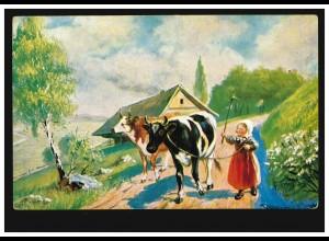 Künstler-AK Mädchen als Hüterin der Kühe, ungebraucht, um 1910
